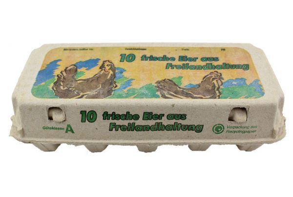 1 Stück 10er Eierschachtel mit Aufdruck Freilandhaltung S-L