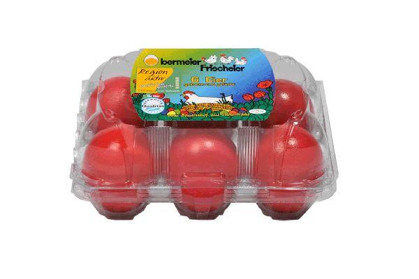 Brotzeit Eier 6er rot gekocht & gefärbt
