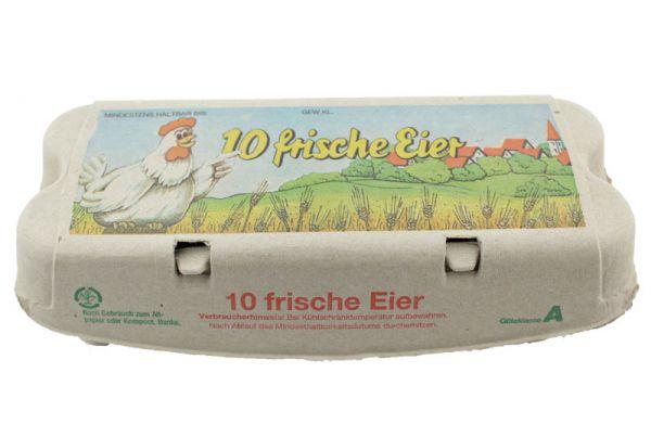 1 Stück 10er Eierschachtel mit Aufdruck 10 frische Eier S-L