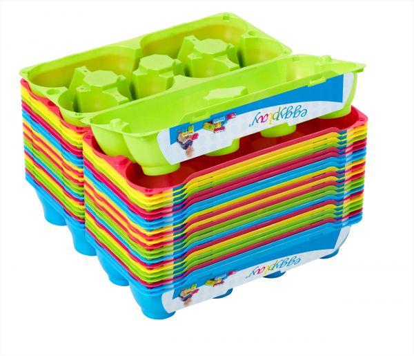 8er EggPlay Eierschachtel Legostein-Optik in verschiedenen Farben